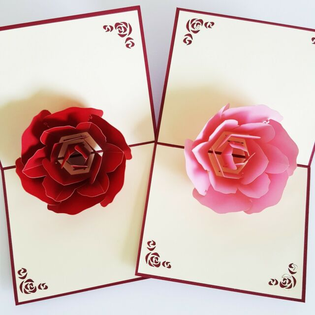 3D Pop Up Handmade Red Pink Rose Flower Mother's Day All Occasions Greeting Card