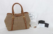 Authentic PRADA LOGO JACQUARD Top Handle/Shoulder Bag With Paperwork & Dust Bag