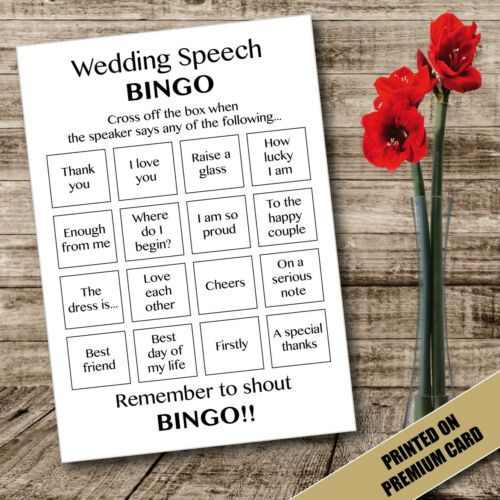 WEDDING SPEECH BINGO STYLE CARDS FUN GAMES KIDS ACTIVITY TABLE DECORATIONS 28