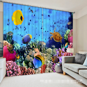 3D Ocean World Blockout Cortinas de impresión de fotografías Cortina Tela Cortinas Ventana au