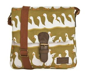Green-Crossover-Shoulder-Bag-Canvas-Satchel-Cross-Body-Duck-Gift-Gifts-Bags-New