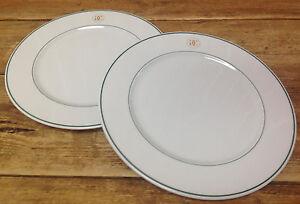 Williams Sonoma Grand Cuisine 2 Dinner Plates Green Wht Gold Logo ...