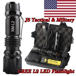 Military 10000LM  XML-L2 LED 18650//AAA Tactical Flashlight Torch Light Kit