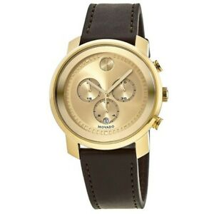 New Movado Bold Chronograph Gold Dial Leather Strap Men's Watch 3600409