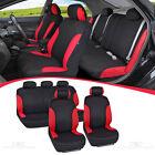 Red/Black Car Seat Covers for Sedan SUV Truck Set Split Bench Option 5 Headrests