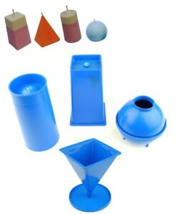 Set of 4 Candle Moulds, 1 x Rectangular 1 x Pillar 1 x Pyramid 1 x Sphere S7566