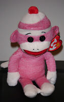Ty Beanie Baby Socks The Sock Monkey (pink) With Mint Tags Retired