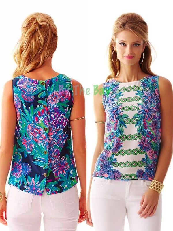 NWT LILLY PULITZER IONA SILK TOP RESORT Weiß CROSSED LIONS  XS,S PRETTY