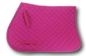 Fuschia-Quilted-Cotton-Square-English-Saddle-Pad-Horse-Tack