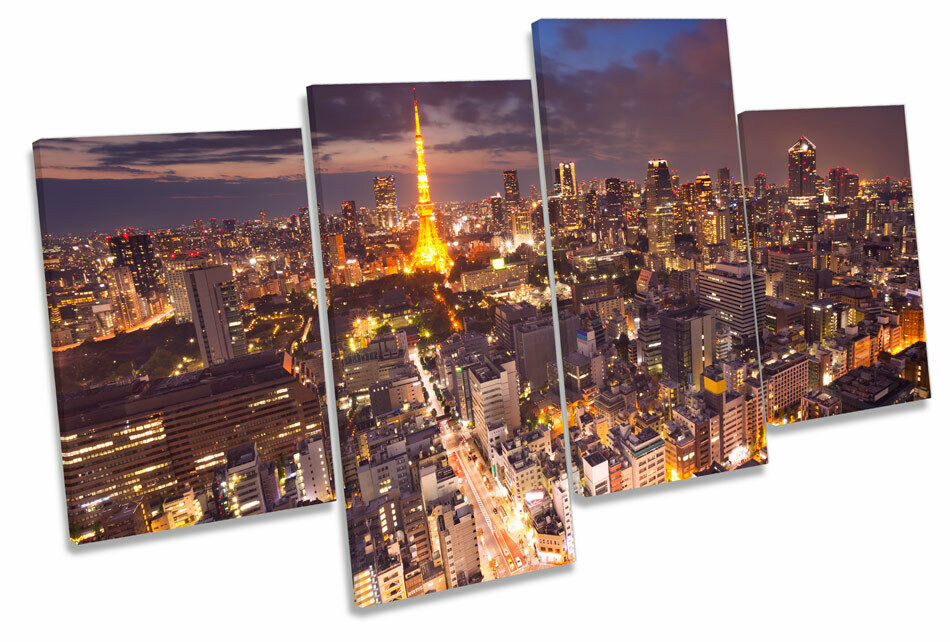 Tokyo Japan Tower Skyline MULTI CANVAS WALL ART Picture Print