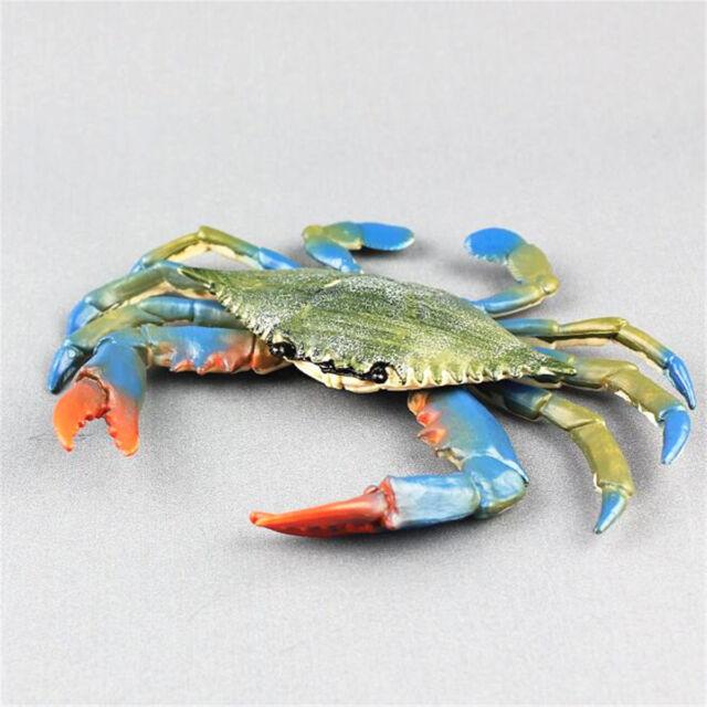 16cm Blue Crab Realistic Sea Animal Model Solid Plastic Figure Ocean Toy  Kids
