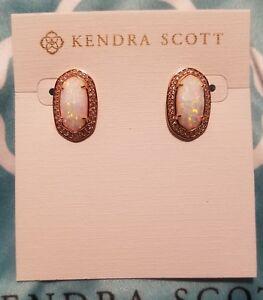120f83eb4c3a Kendra Scott Elaine Kyocera Opal Rose Gold Stud Earrings Fashion ...