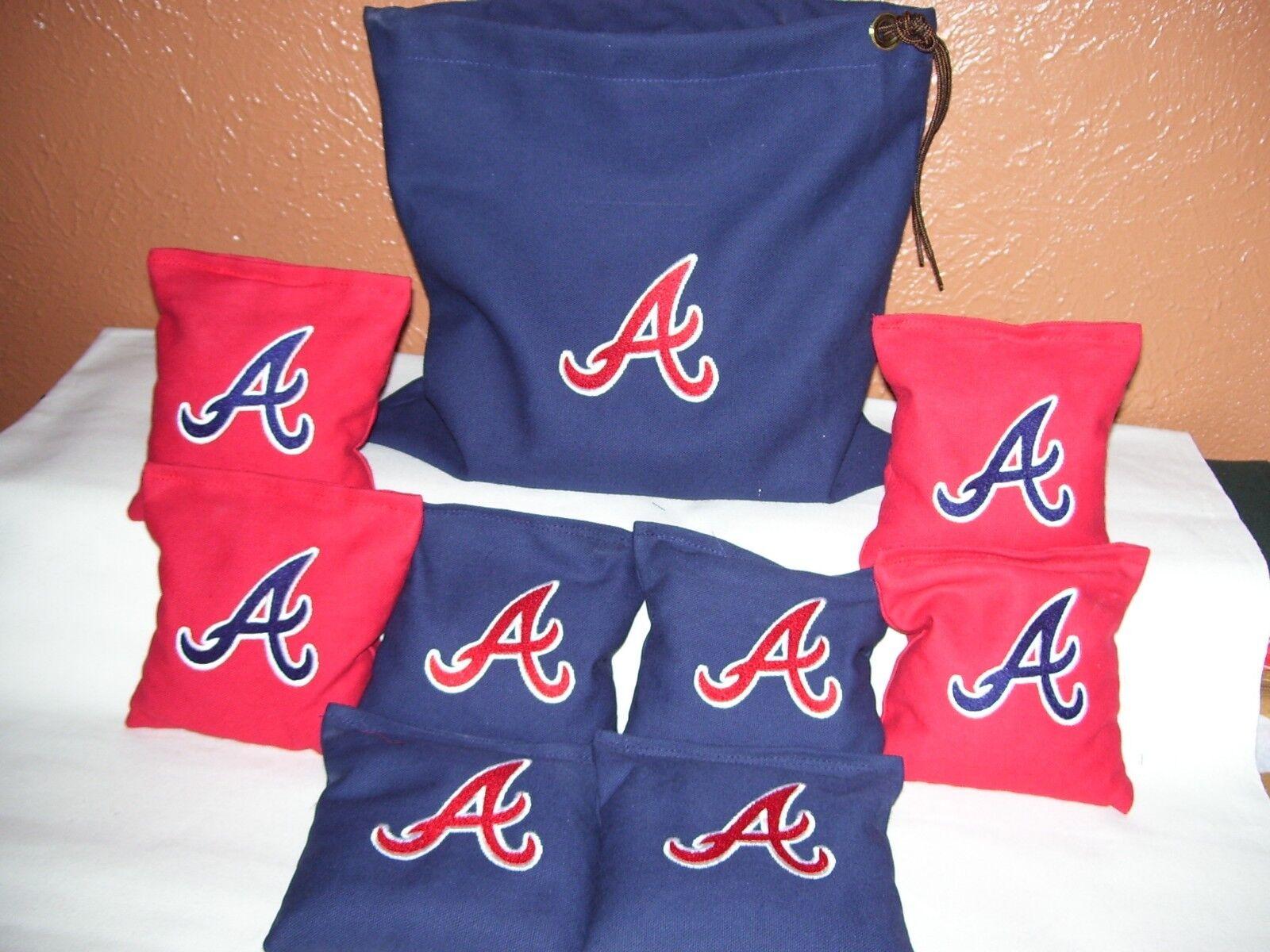 Atlanta Braves Embroidered Cornhole Corn Hole Bags With Storage Bag