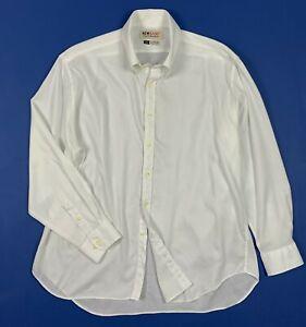 New-basic-camicia-uomo-usato-XXL-bianco-cotone-used-shirt-manica-lunga-T5380