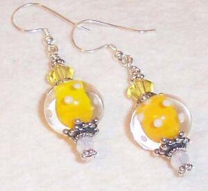 LEMON-DROP-Yellow-Lampwork-Glass-Silver-Earrings