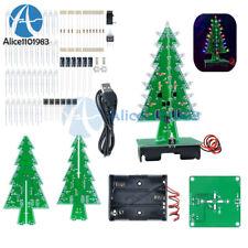 Set Of 3d Xmas Tree Diy Kits Flash Led Circuit Christmas Trees Led 7 Color Light