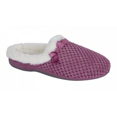 Womens Ladies Bow Slippers Pink Grey Memory Foam Slip On Sleepers Sizes 3 to 9