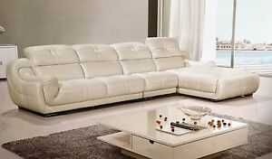 3 Pc Italian Top Grain White Leather Sofa Chaise Chair Sectional