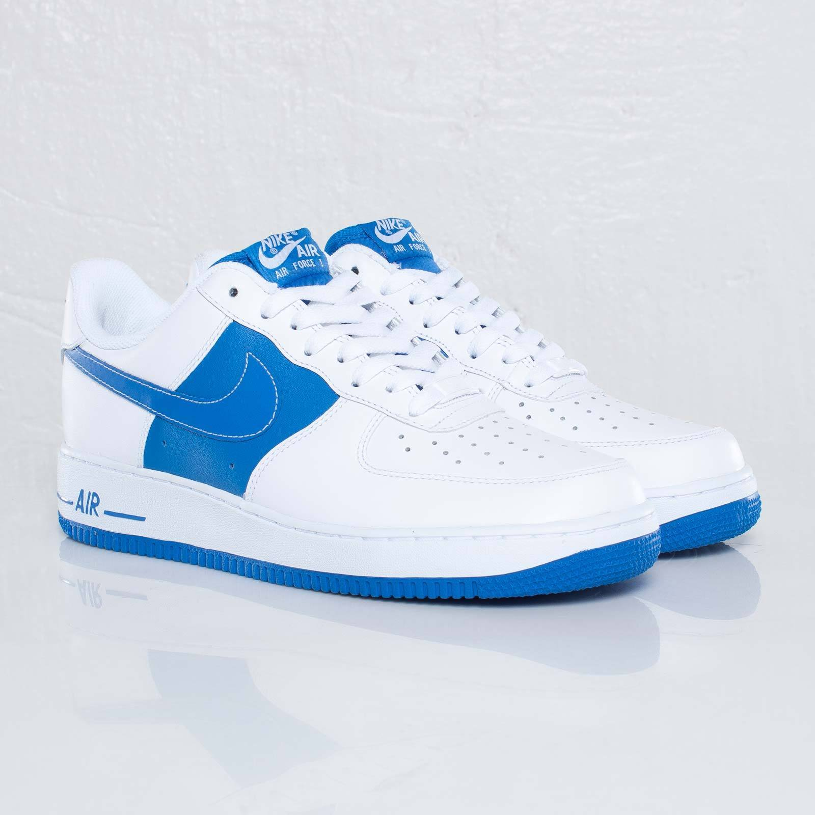 Mens Nike Air Force 1 Low White Blue Leather Trainer 488298 110