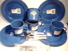 NEW Coleman ENAMELWARE BLUE SPECKLED CAMPING SET~4 PLATES~4 SOUP/MUGS~UTENSILS