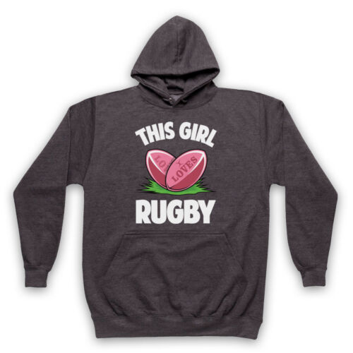 THIS GIRL LOVES RUGBY SLOGAN SPORTS LOVER COOL RETRO ADULTS KIDS HOODIE