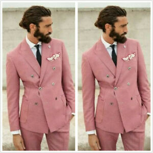 Pink-Houndstooth-Men-039-s-Suit-Tuxedos-Double-Breasted-Formal-Regular-Fit-Tailored