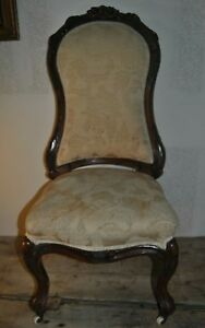 "Chairs Antique Parlor Chair On Wheels 43 1/2"" Tall Width Of Seat 18 1/2"" By 18 1/2"""