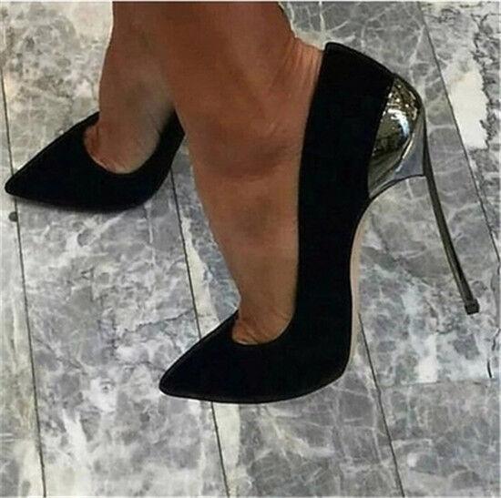 Chaussures Femme Talons Hauts Stiletto chaussures En Daim Synthétique Escarpins compensés à bout pointu à enfiler Club Sandale