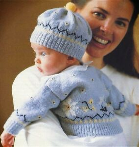 2b43bacba643 Babies Fair Isle Copy Cardigan and Hat Knitting Pattern Baby Boys or ...