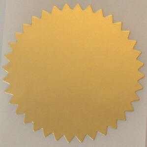 Dull Gold Foil Notary & Certificate Seals, 2 Inch Burst ...
