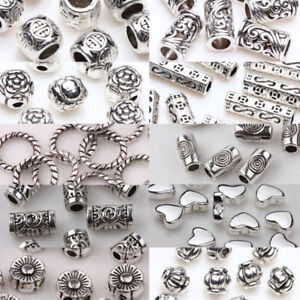Wholesale-50-100pcs-Silver-Plated-Loose-Spacer-Beads-Charms-Jewelry-Making-DIY