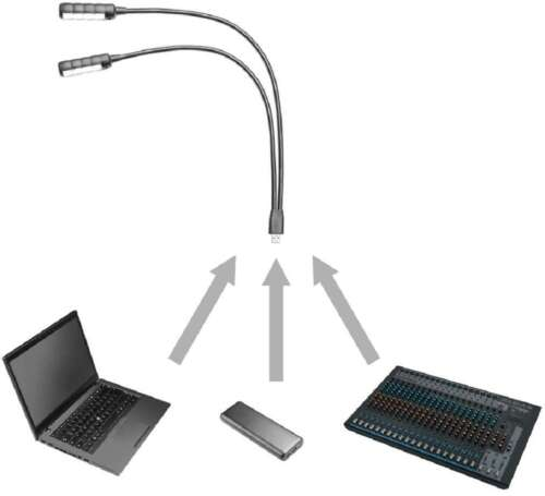 Ultrahelle 2-Arm USB-Lampe mit COB LEDs Notebook Lampe Schwanenhalslampe Leuchte