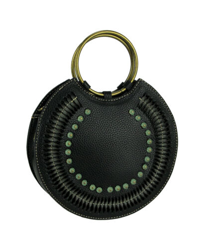 Montana West Cut-Out Collection Round Ring Handle Handbag with Crossbody Strap