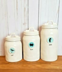 Rae-Dunn-Magenta-Sea-Life-Canister-Set-WANDER-SEEK-DISCOVER-Nautical-Summer-Teal