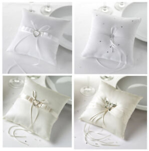 Wedding Ring Cushion / Pillow in Presentation Box - 4 Designs - Ivory or White