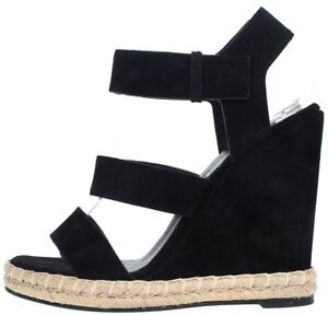 901ef476ac0 Details about Auth Balenciaga Black Suede Leather Wedge Espadrilles Sandals  Shoes 37