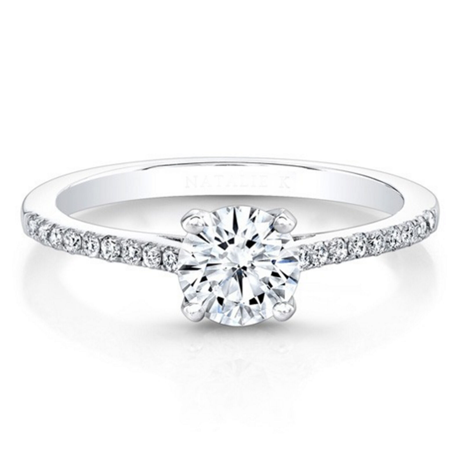 0.71 Ct Diamond Engagement Ring 18K Solid White gold Women's Rings Size 7 6 5 4