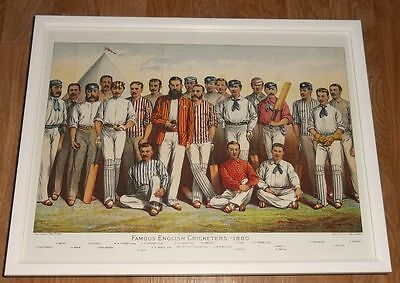 Cricket framed print - 12''x16'', Famous English Cricketers, cricket wall art