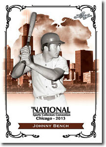 50) JOHNNY BENCH - 2013 Leaf National Convention PROMO Cincinnati Reds Card LOT
