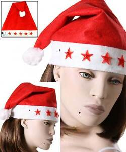 462974d3e4c08a Santa Claus Christmas Holiday might Light Up Red Felt Hat w/ trees ...