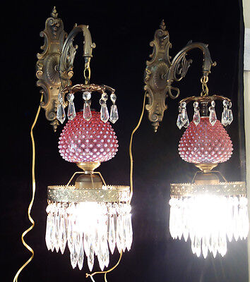 Sanft Paar Vintage Fenton Cranberry Kunstglas Lampen Tulip Lilie Bronze Messing