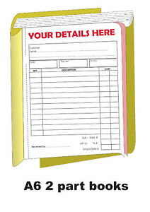 50 x PERSONALISED A5 Invoice//receipt  books 2 part