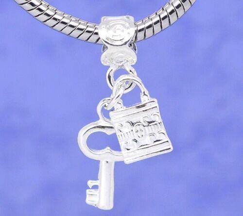 Lock /& Key Silver Plated Large 4.8mm Hole Dangle European Charm Bead 1pc