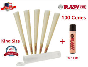 Authentic RAW Classic King Size Pre-Rolled Cones 100 Pack & Clipper Lighter Free