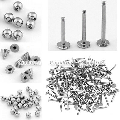 100x Steel Ball Cone 16g Barbell 8/10/12mm Lip Labret Tongue Rings Piercing DIY