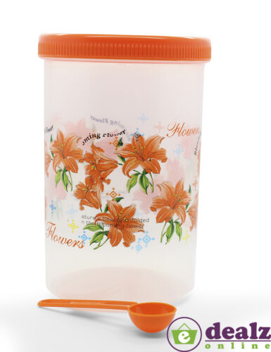 Round Screw Lid Cap Airtight Plastic Container Spoon Kitchen Organiser 2.25L