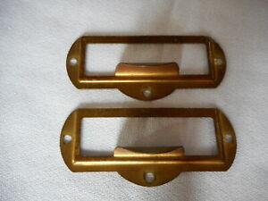 FILE CABINET HARDWARE BRASS PLATED CARD HOLDER  D3139