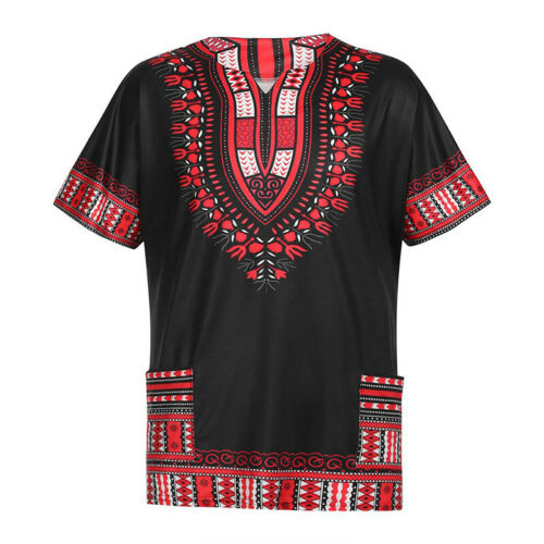 Men/'s African Ethnic Short Sleeve Tops Dashiki Style T Shirts Casual Blouses Tee