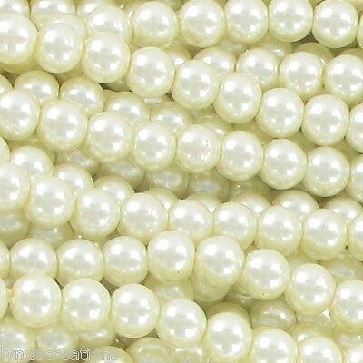 50 perles IVOIRE  en verre nacré 8mm # M27