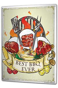 Tin sign xxl food restaurant best bbq ever metal plate plaque for Plaque metal cuisine